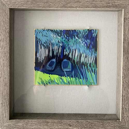 Blue Boats Watercolor