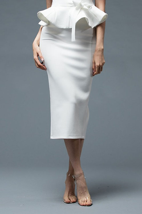 Scuba Pencil Skirt Ivory