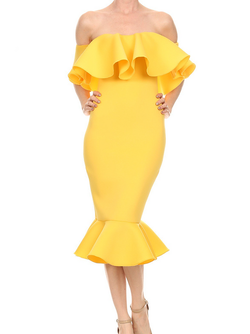 The Kei Ruffle Dress Yellow
