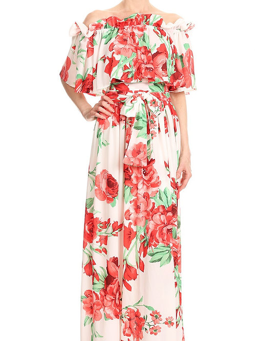 Off The D'ecollete' Red & White Floral Maxi Dress