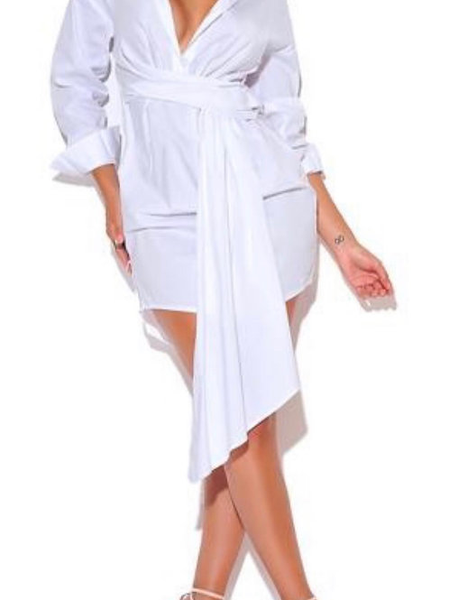 Tailored White Collard Shirt Dress