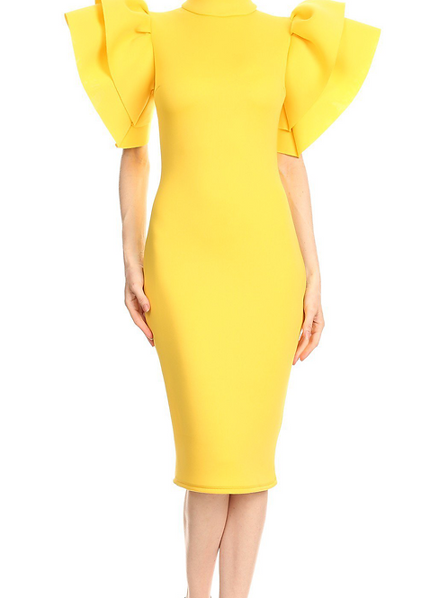 The Exaggerated Sleeve Dress Yellow