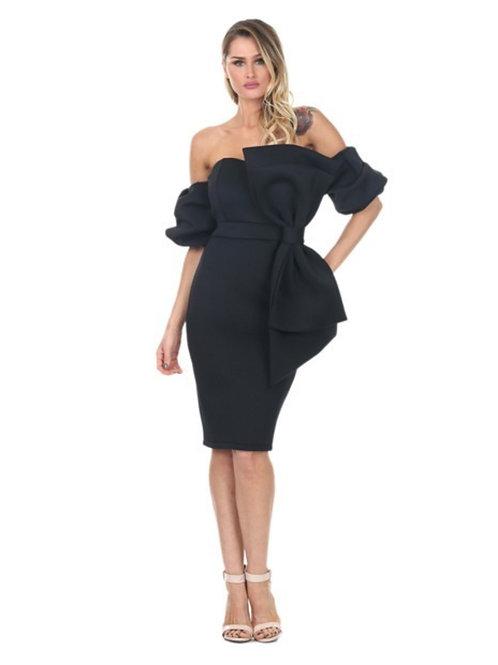 The Delina Bowtie Dress  Black