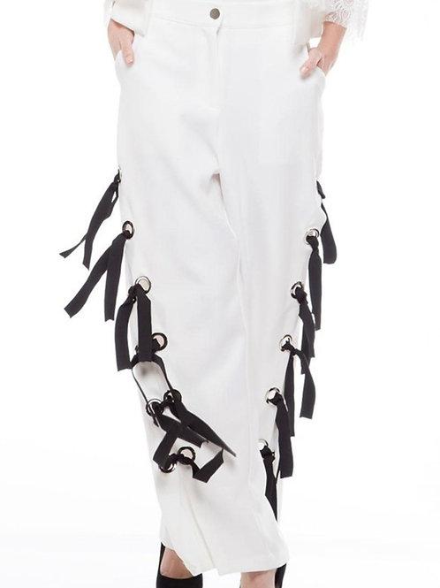 Chicago White Pants Ribbon Detail