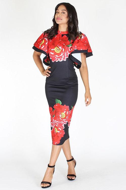 Floral Ruffled Sleeve Bodycon Dress