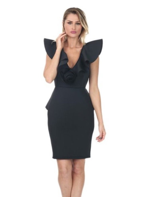 The Structured Ruffle Dress Black
