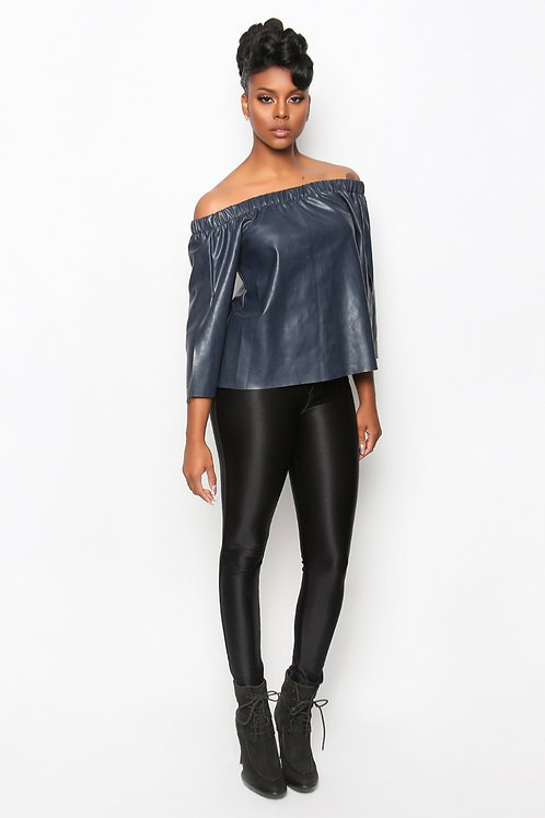 Faux Leather Top - Midnight Blue