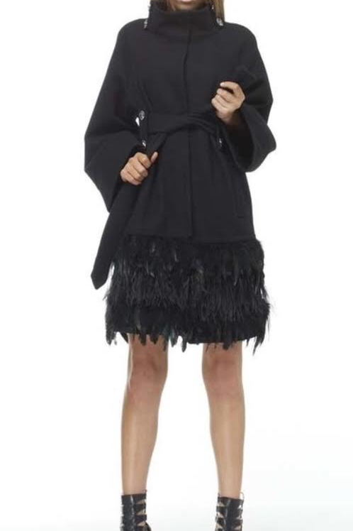 100% Wool & Ostrich Feather Trim Coat