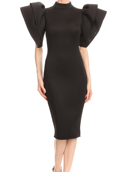 The Exaggerated Sleeve Dress Black