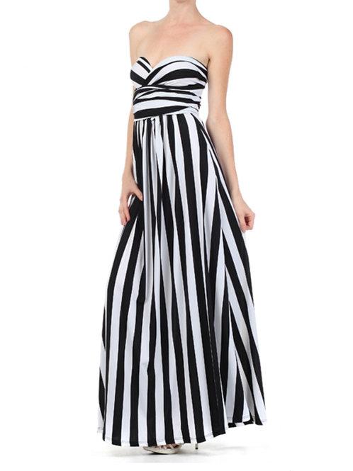 Criss Cross Pinstripe Maxi Dress