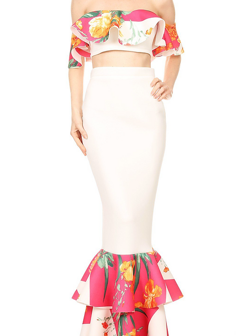 The RieA Two Piece White & Floral