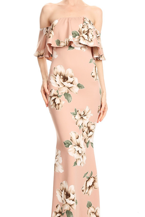 Off The D'ecollete' Beige Floral Maxi Dress