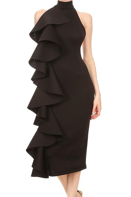 The Alorah Ruffle Dress Black
