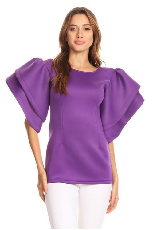 Structured Sleeve Top Purple