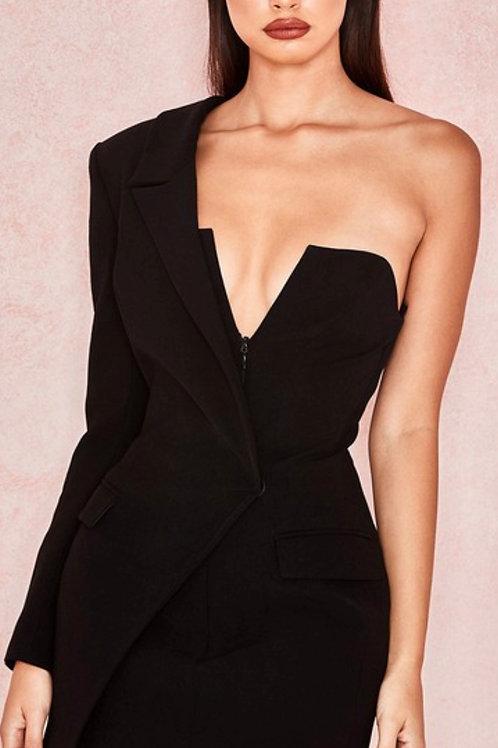 Tuxedo Cold Shoulder Dress
