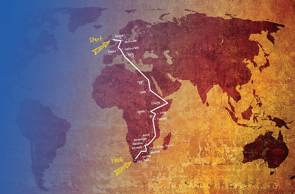 Route of E-Bike Africa solar powered expedition