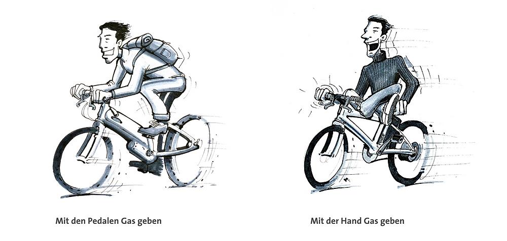 Pedelec, E-Bike, Unterschied, Zeichnung Norbert Haller