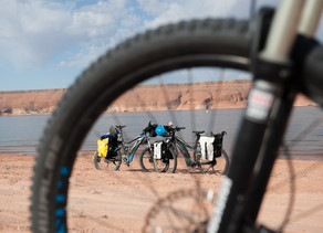 Crossing Lake Powell on a Boat not E-Bikes before Cycling the Wild West