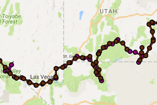 Click to enlarge – Sand to Snow route through Western USA logged by two InReach satellite devices