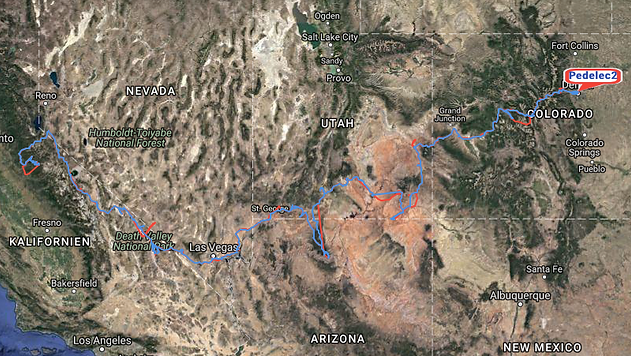 Sand to Snow route through Western USA logged by two InReach satellite devices