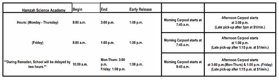 Hamzah Science Academy-Academic-Calendar