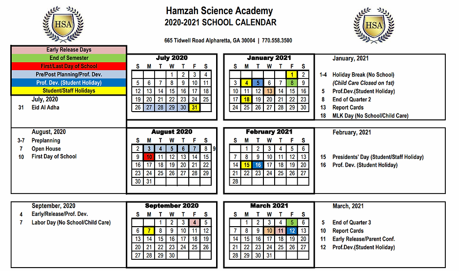Hamzah Science Academy-Academic-Calendar