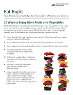 20 ways to increase fruits and vegetable