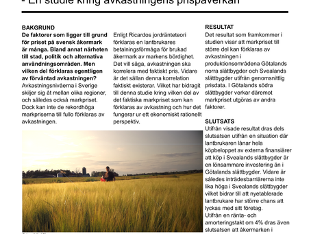 Hur förklaras priset på svensk åkermark?