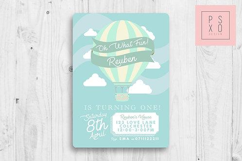 Hot Air Balloon Theme Invite