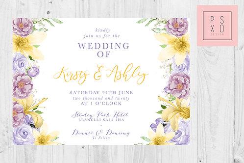 Kirsty Lily & Purple Rose Monika Theme Wedding Invite