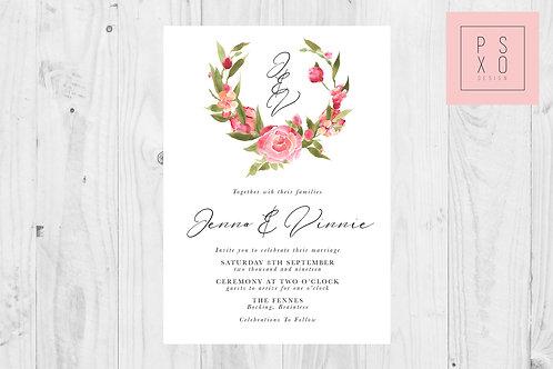 Red Rose Watercolour Wreath CM Wedding Invite