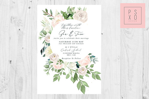 Zoe Blush Botanical Wild Rose Wedding Invite