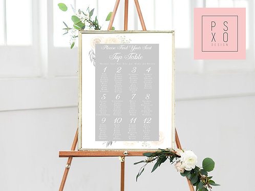 Andrea - White & Blush Grey Floral Table Plan