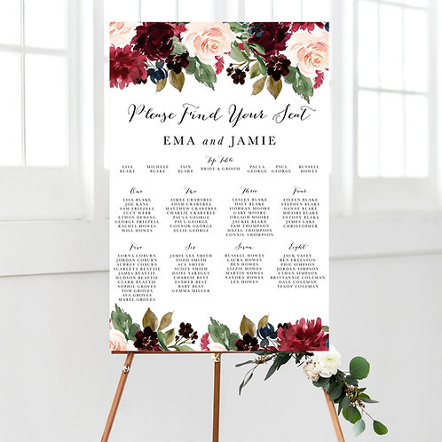 Christy Burgundy Floral Table Plan