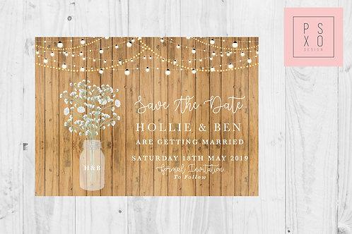 Rustic Mason Jar & Fairy Light  Save The Date Magnet