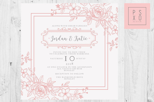 Simple Cute Floral Border Pink & Cream Wedding Invites