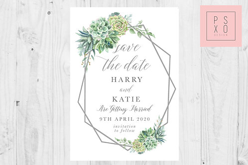 Succulent Marie Save The Date Magnet