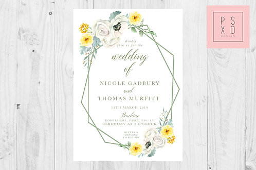 Geometric White & Yellow Floral Invites