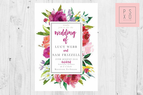 Bright Watercolour Floral Frame Wedding Invites