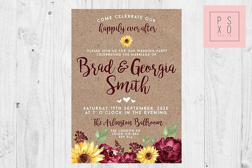 Sophie Rustic Burgundy & Sunflower Invite