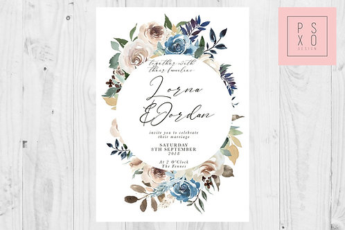 Lovely Blue Natural Floral Circle Wedding Invite