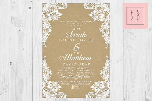Simple Rusitc Lace Effect Wedding Invites With Kraft Background