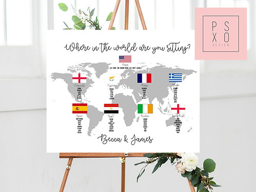 Danielle / Where In The World Are You Sitting? Table Plan