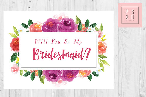 Bright Pink Floral Bridesmaid Proposal Card
