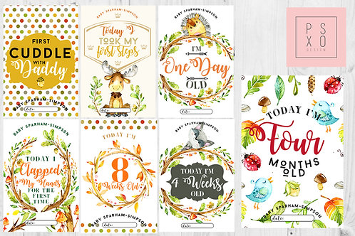 Beautiful Watercolour Forest Animal Themed Milestone Cards