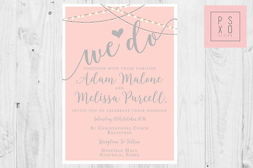 Cute Boho Fairy Light Themed Wedding Invites