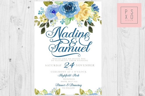 Nadine - Blue & Yellow Floral Invite