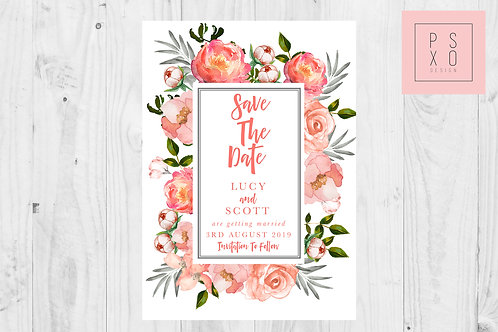 Bright Coral Floral Save The Date Magnet
