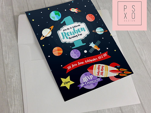 Galaxy, Planets And Space Theme Invite