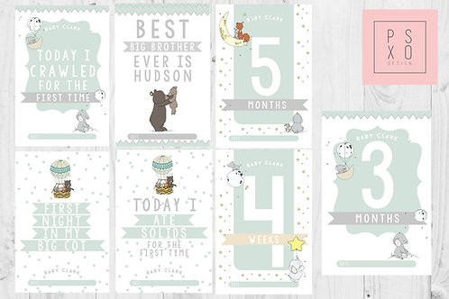 Forest Animal Themed Baby Milestone Cards
